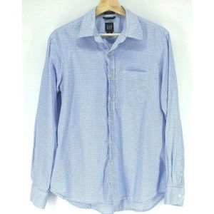 Gap Men's Shirt Blue White Polka Dot
